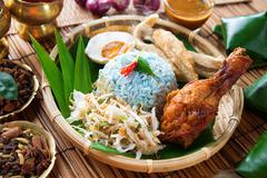nasi kerabu or nasi ulam - stock photo