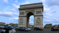 Stock Video Footage of Paris, France. Arc de Triomphe - 8. Traffic, cars.