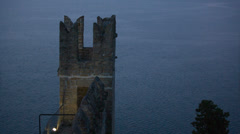 Castle fortress with calm sea in background Stock Footage