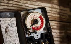 old thermostat - stock photo