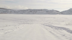 Frozen Lake Pan Stock Footage