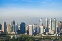 modern city view of bangkok with blue sly background, thailand. cityscape - stock photo