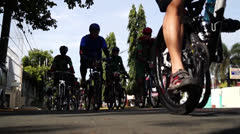 Group of Bikers on the road Stock Footage