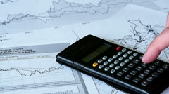 Business Finance With Calculator Stock Footage
