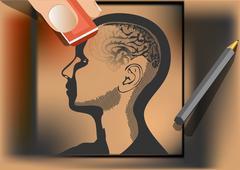 Brain wash. artist wipes human brain with eraser Stock Illustration