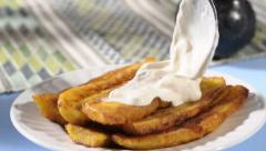 Plantains cream cheese Stock Footage