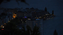 Stormy night in Montreux Stock Footage