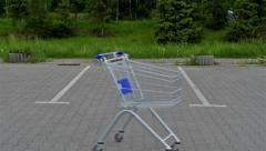 Racing shopping cart. - stock footage