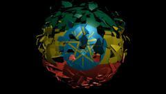 Ethiopia flag sphere converging animation - stock footage