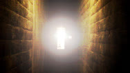 Stock Video Footage of Bright Light At End Of Creepy Narrow Hallway Or Tunnel Slow Zoom