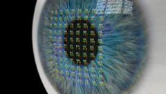 Eye Looking at Financial Data. Stock Footage