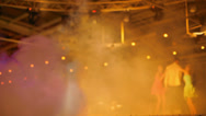 Glare, flash, smoke and other effects on the dance floor at the club Stock Footage