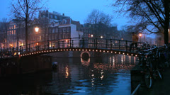 Amsterdam Canal - Night View 1 Stock Footage