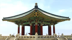 Korean Friendship Bell Pagoda Pavilion- San Pedro CA Stock Footage