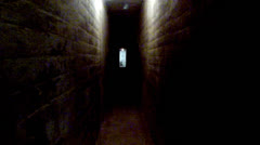 Long Narrow Dark Creepy Old Tunnel Or Hallway Stock Footage