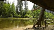 Yosemite LM59 Dolly Circular Back R Merced River Cathdral Beach Stock Footage