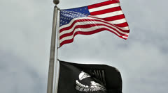 American Flag with POW Flag Stock Footage