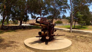 Stock Video Footage of World War II Era Anti-Aircraft Gun At Fort MacArthur Museum- San Pedro CA