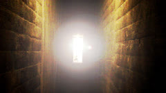 Fast Zoom To Brightly Lit Doorway At End Of Creepy Tunnel Or Hallway Stock Footage
