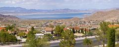 lake meade bolder city nevada suburb and mountains panorama. - stock photo