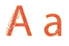 childlike hand drawn alphabet,   letter a isolated on white background - stock illustration
