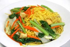 stir-fried rice noodles - stock photo