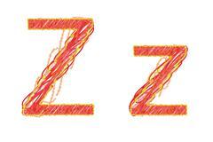 childlike hand drawn alphabet,   letter z isolated on white background - stock illustration