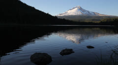 Mount Hood Water Reflection in Trillium Lake Oregon 1080p Stock Footage