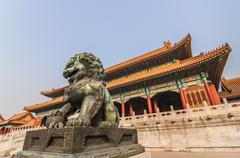 Chinese lion in the forbidden city, beijing Stock Photos