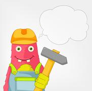 Funny Monster. Contractor. Stock Illustration