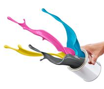 cmyk paint splash - stock photo
