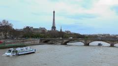 Paris, France - Eiffel Tower and River Seine. Bateaux Parisiens. Cruise Tours 60 Stock Footage