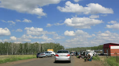 Summer market on the way to a holiday village. Stock Footage