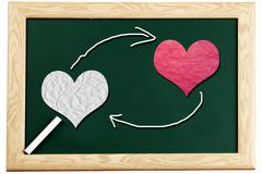 love or romantic relationship concept presented       on blackboard - stock photo
