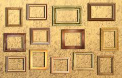 Golden frame on  gold  wall . Stock Illustration