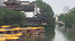 Old town in Nanjing and Qinhuai River, Nanjing, China Stock Footage