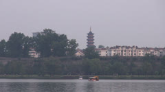 Fast motion of Xuanwu Lake by day, Nanjing, China Stock Footage