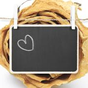 Hand drawing heart on blackboard with dry white rose background, included cli Stock Photos