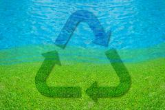Recycle symbol on lake of dreams Stock Illustration