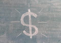 Us dollar sign written on a blackboard Stock Illustration