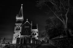 st. peter's roman catholic church at night, harper's ferry, wv. - stock photo