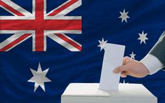 man voting on elections in australia - stock photo