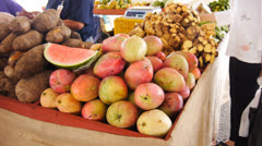Agriculture crop food vegetable fruit fair market 7 Stock Footage