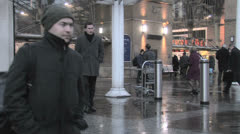 People in Liverpool station - stock footage