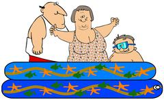 Family in a kiddie pool - stock illustration