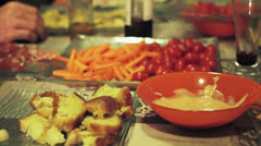 Various appetizers on the table Stock Footage