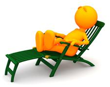 3d guy: man relaxes in deck chair - stock illustration