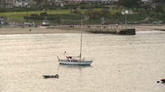 Small Yacht Moored of the Dorset Coast Stock Footage