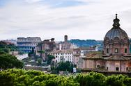Stock Photo of view of coliseum from capitol hill, rome