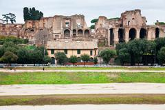 Palatine and ground of circus maximus in rome Stock Photos